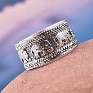 Jewelry - Artisan Crafted Sterling/S Engraved Elephant Ring